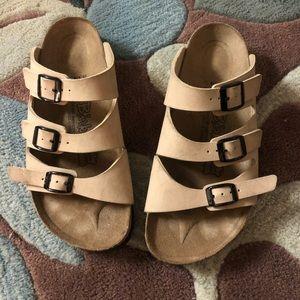 Birkenstock's (Birki's) tan sandals